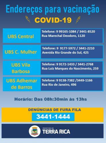 Endereços e Telefones Vacinação Covid-19