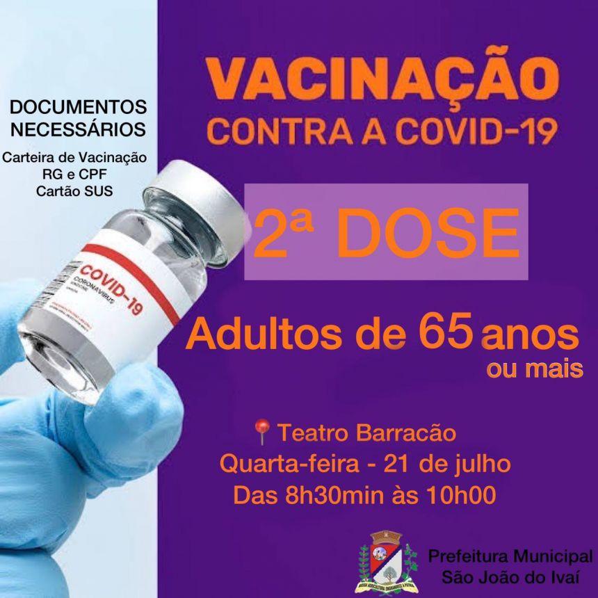 Vacinação da 2ª  dose de adultos de 65 anos ou mais