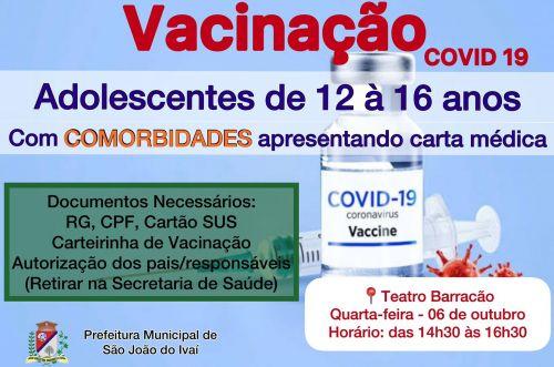 Vacinação adolescentes com comorbidades (12-16 anos).