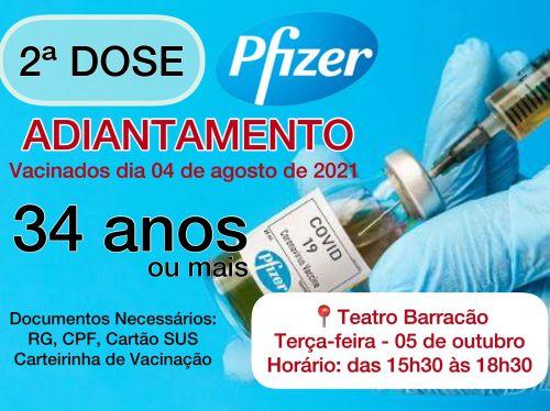 Vacinação da 2ª  dose. (adiantamento)