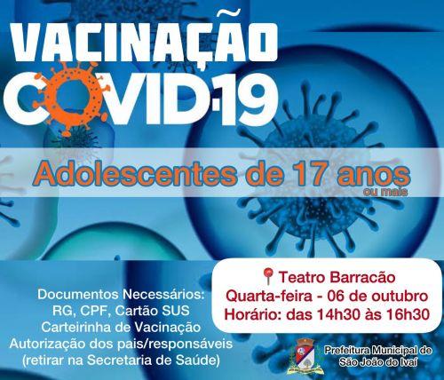 Vacinação adolescentes de 17 anos.