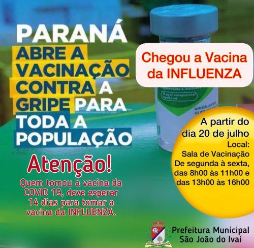 Vacinação para toda população contra a gripe.