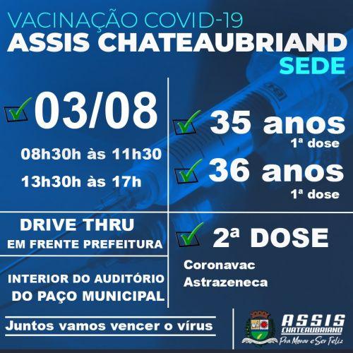 Pessoas com 35 e 36 anos serão vacinadas nesta terça-feira (3) em Assis Chateaubriand