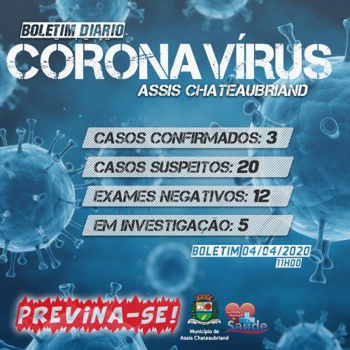 BOLETIM CORONAVÍRUS - 04/04/2020