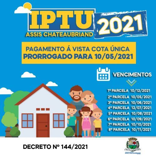 Segunda parcela do IPTU/2021 vence nesta segunda-feira (10)