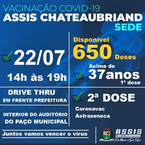 Pessoas acima dos 37 anos serão vacinadas nesta quinta-feira (22) em Assis Chateaubriand