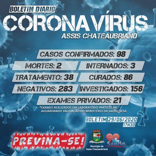 BOLETIM CORONAVÍRUS - 29/06/2020