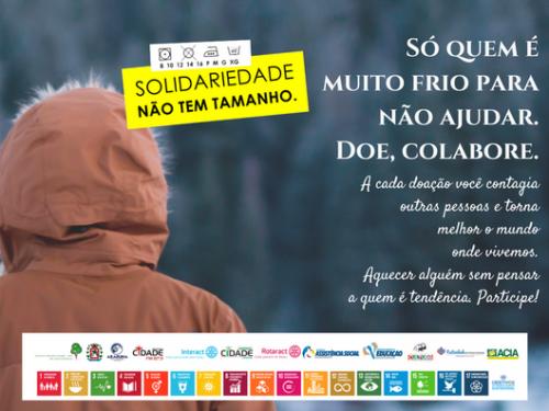 Campanha do agasalho 2018 vai durar 90 dias em Araruna. Fotografia: Projeto Solidariedade Não Tem Tamanho (arte de Instituto Projeto Apiaba - INPA).