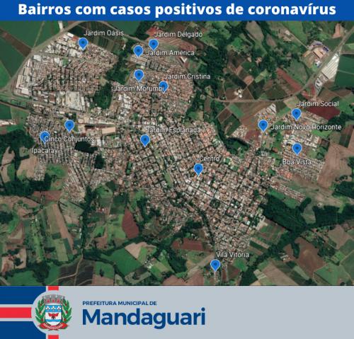 Mapa aponta bairros com casos positivos de coronavírus