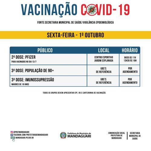 Saiba quem será vacinado nesta sexta contra a Covid-19.