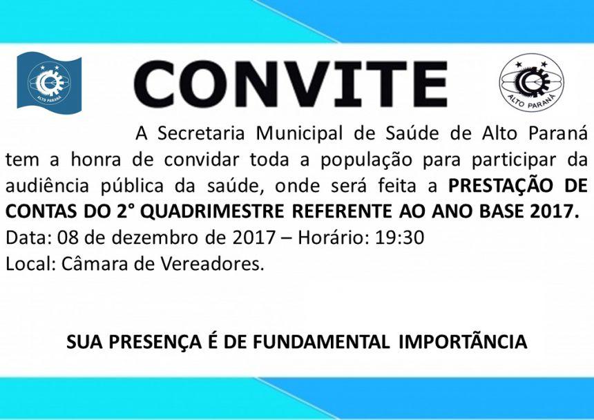 CONVITE PARA AUDIÊNCIA PUBLICA DA SAÚDE