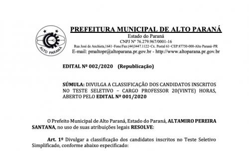 EDITAL DE CLASSIFICAÇÃO DOS INSCRITOS NO TESTE SELETIVO SIMPLIFICADO